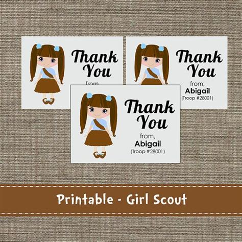 printable thank you cards girl scouts girl scouts brownie junior daisy thank you cards