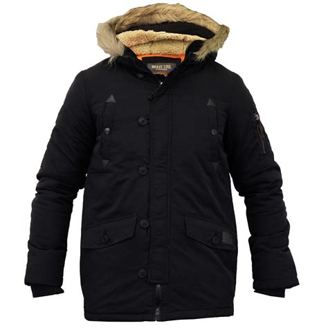 Seoul Blazer Jaket Coat boys jacket parka coat brave soul padded sherpa hooded fur lined winter new ebay