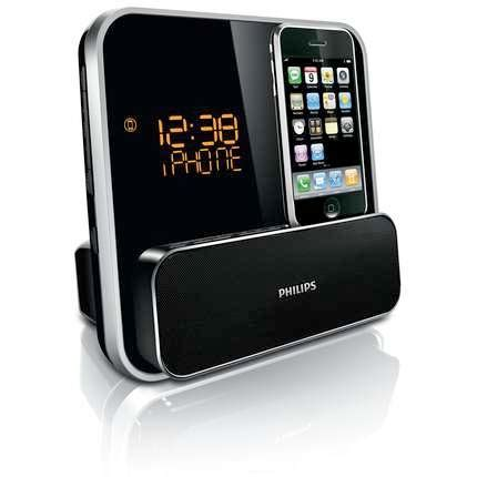 philips dc315 37 speaker system for 30 pin ipod iphone with led clock radio black