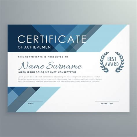 design certificate blue certificate design in professional style vector