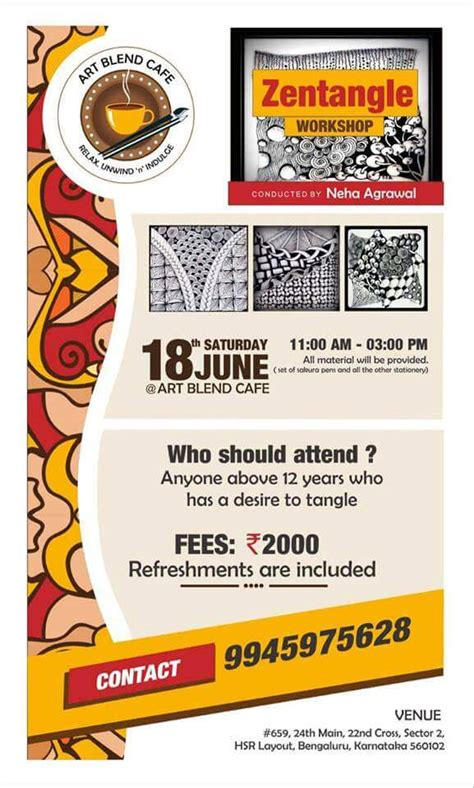 hsr layout event today zentangle workshop hsr layout bangalore