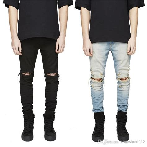 Knee Ripped Washed Premium Quality All Brand New 2018 new slim fit ripped hi mens distressed denim joggers knee holes washed
