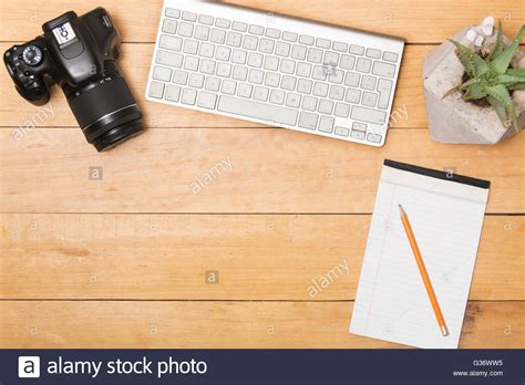 flat lay creative working desk work office stock photo