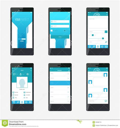 layout template mobile template mobile application interface design stock vector