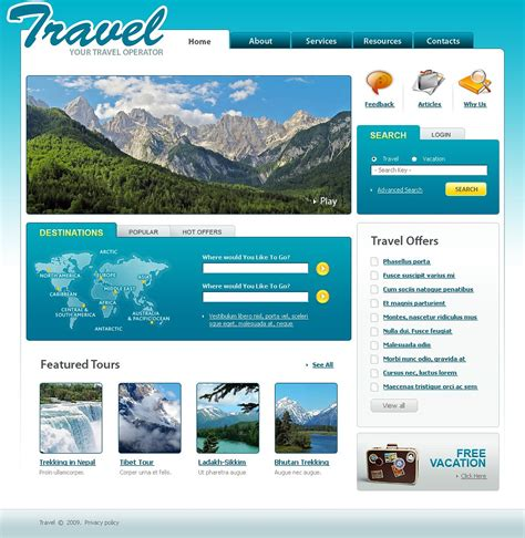 templates for deals website travel offers website template web design templates