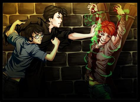 1408898136 harry potter tome harry tom attacks ron and harry tries to stop him harry potter