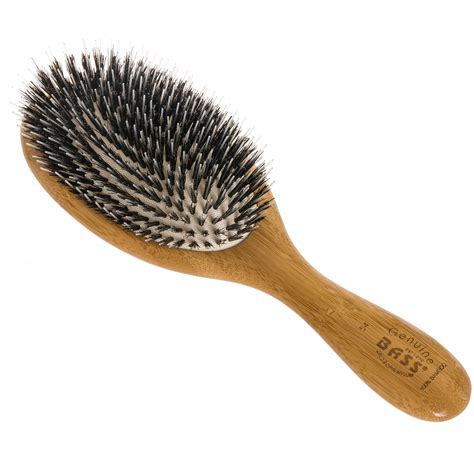 Hair Styling Brush Green bass brushes new wood large oval cushion boar