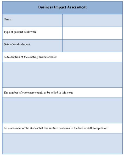 Business Impact Statement Template printable business impact assessment template