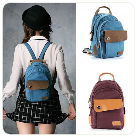 Tas Backpack Fashion Minibag details about canvas mini backpack small book bag rucksack purse gift s
