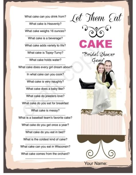 Wedding Cake Quiz by Bridal Shower Cake Trivia Custom With Your Picture