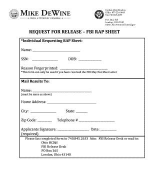 Ohio Attorney General Background Check What Does An Fbi Rap Sheet Look Like Fill Printable Fillable Blank Pdffiller