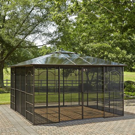 Outdoor Patio Gazebo 12x12 Grand Resort Square 12 X 12 Hardtop Gazebo With Screen Doors Outdoor Living Gazebos
