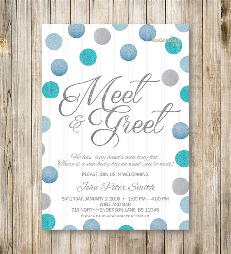 Sle Invitation For Meet And Greet Meet And Greet Invitation Silver Blue Glitters Meet The Baby