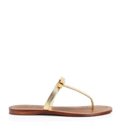 burch flat shoes price burch leighanne metallic flat sandal in gold lyst