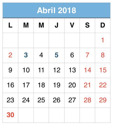 Abril Calendario Abril 2018 Calendario Free Printable Calendars