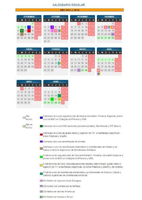 Calendario Escolar Aragon Secundaria Calendario Escolar De Arag 243 N 2017 18 Avvbarriojesus