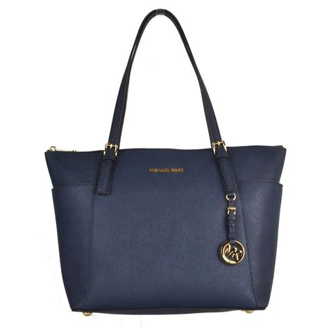 Michael Kors Jet Set Navy michael michael kors jet set item navy saffiano top zip tote