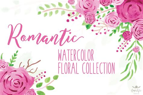 Home Decoration Stickers by Romantic Watercolor Floral Collection Amistyle Digital Art