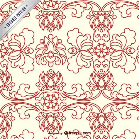 asian pattern ai chinese floral pattern vector free download