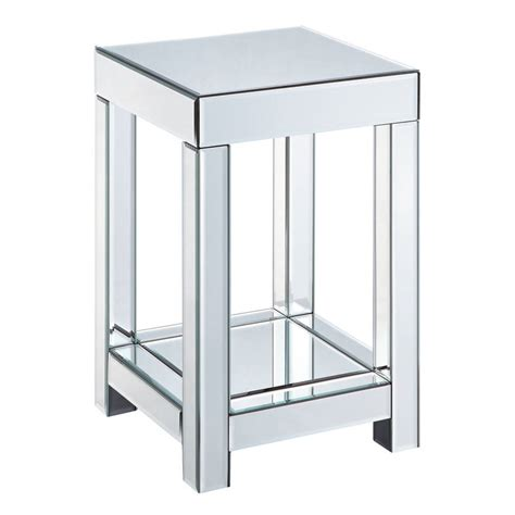 mirrored bench mirrored side table in two sizes by out there interiors