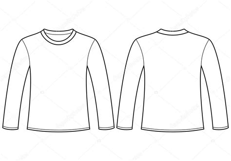 long sleeved t shirt template stock vector nikolae long