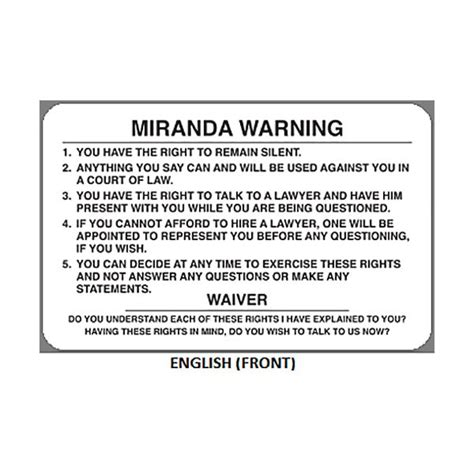 miranda rights geiger miranda warning card mwc