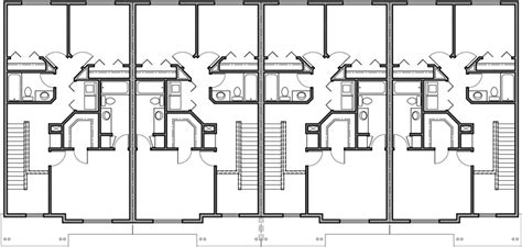 narrow row house plans 4 plex plan 22 ft wide house plan row home plan f 545