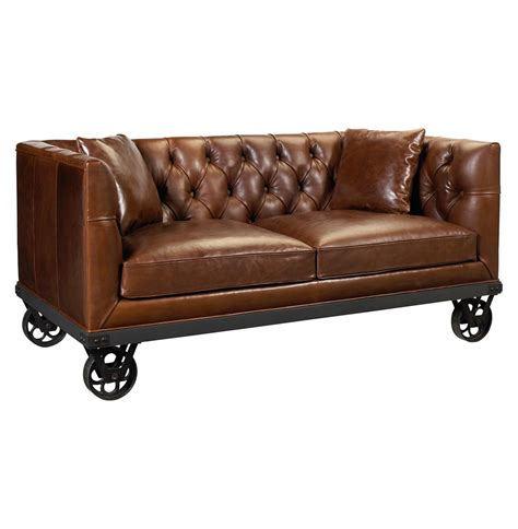 couch on wheels mouille industrial loft wheels rich brown leather sofa