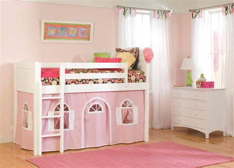kids beds for girls pink full of fun cottage deluxe low loft tent bed for kids