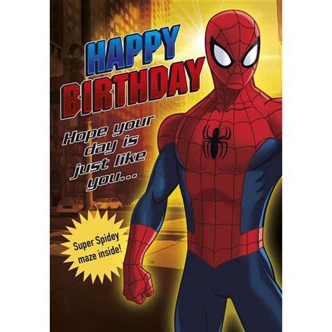 printable birthday card spiderman happy birthday marvel spiderman activity birthday card