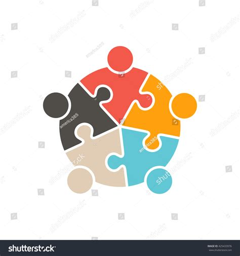 puzzle design elements vector teamwork people five puzzle pieces vector stock vector