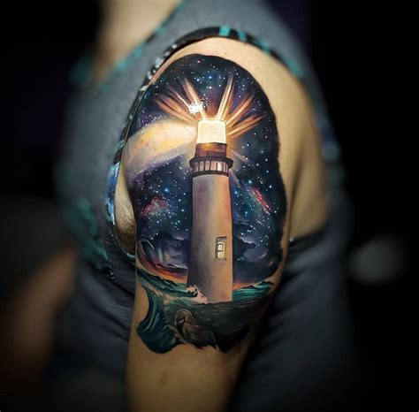amazing tattoos arty lighthouse with space background best design