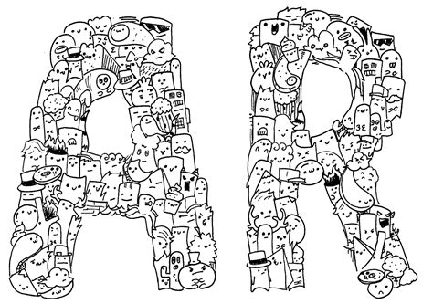doodle huruf kreasi doodle jenis doodle