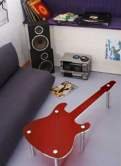 music themed room decorations with unique guitar shape
