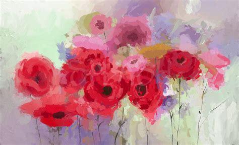 cuadro con flores cuadros de flores abstractos color rojo rosa malva cuadros
