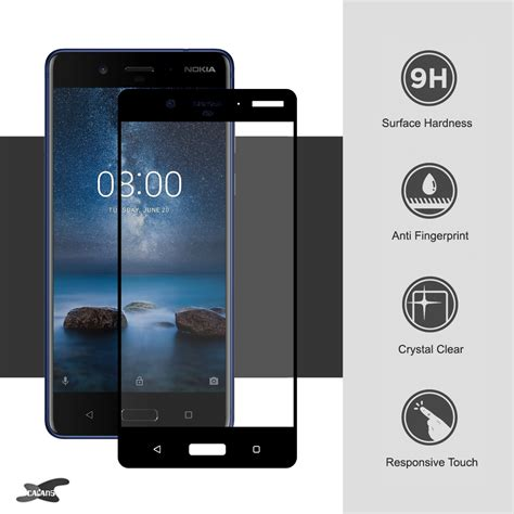 Tempered Glass Screenguard Nokia 3 tempered glass screen protector for nokia 8 black