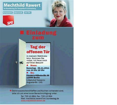 Musterbrief Einladung Tag Der Offenen T R Einladung Zum Tag Der Offenen T 252 R Mechthild Rawert