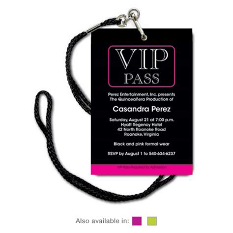 vip pass invitation template quinceanera invitations