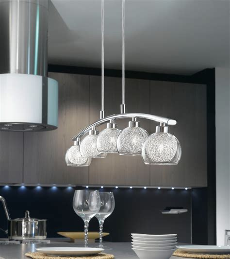 oviedo modern curved 5 light kitchen pendant bar chrome 93054