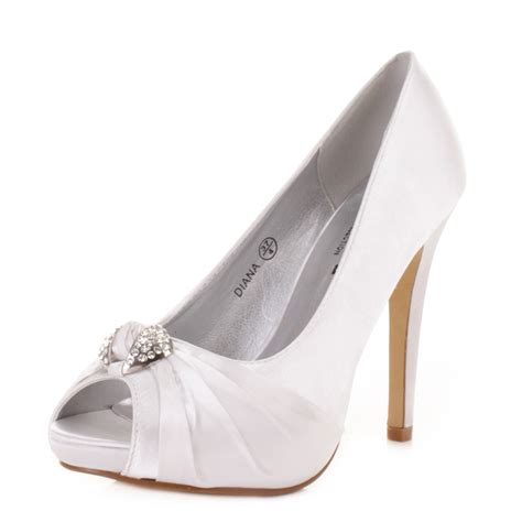 high heel diamante peep toe satin wedding prom