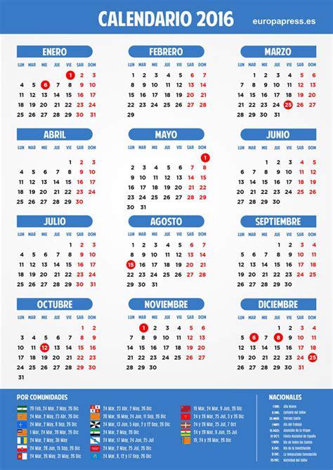 Calendario Dias 8 D 237 As Festivos Para 2016 En Toda Espa 241 A Ibizadiario Info
