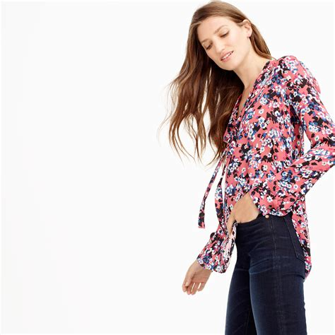 Jeslyn Floral Blouse In Blue j crew collection silk blouse in autumn floral in blue lyst