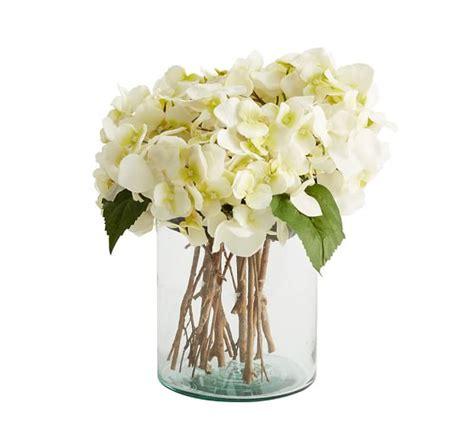 Hydrangea Arrangements Vases by Faux White Hydrangea Arrangement In Glass Vase Pottery Barn