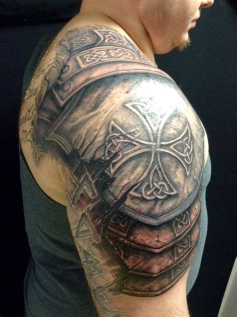 shoulder shield tattoo armor sholder tat pinte