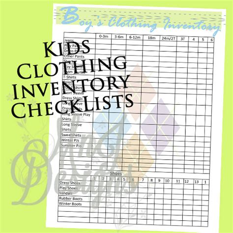 items similar to dvd inventory list printable pdf items similar to clothing inventory set pdf closet