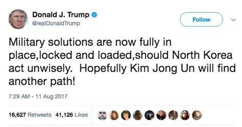 donald trump north korea tweet trump s latest north korea threat is scary it s also a