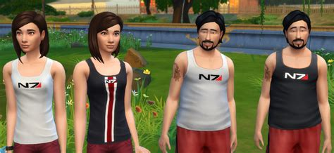 mod the sims n7 and tali mass effect tank tops