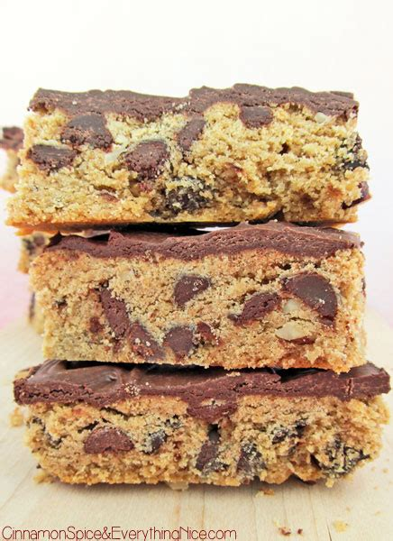 peanut butter bars with chocolate chips melted on top peanut butter chocolate chip bars cinnamon spice