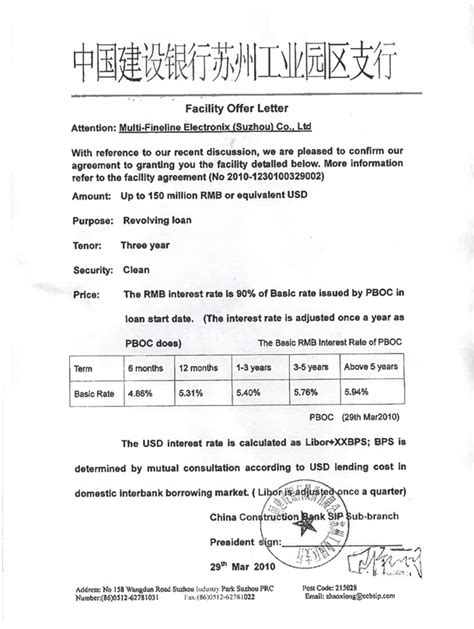Facility Agreement Vs Letter Of Offer facility offer letter attention multi fineline electronix