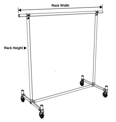 Bar Cl Rack Plans by Single Bar Clothing Rack With Feature Ends Pipe Clothing